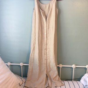 100% Linen Adrienne Vittadini Linen Maxi Dress (S)